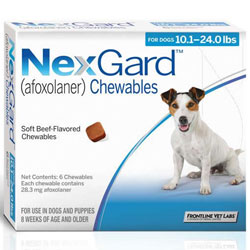 Nexgard Chewables for Medium Dogs, Blue, 4.1 - 10 Kg (10.1-24lbs) 28mg