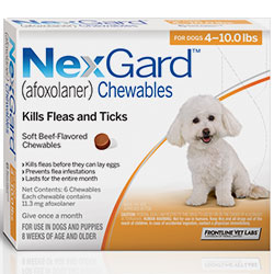 Nexgard Chewables for Small Dogs, Orange, 2 - 4 Kg (4-10lbs) 11mg