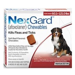 Nexgard Chewables for Extra Large Dogs, Red, 25.1 - 50 Kg (60.1-120lbs) 136mg