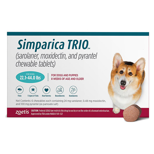 Simparica TRIO for Dogs 22.1-44 lbs (Teal)