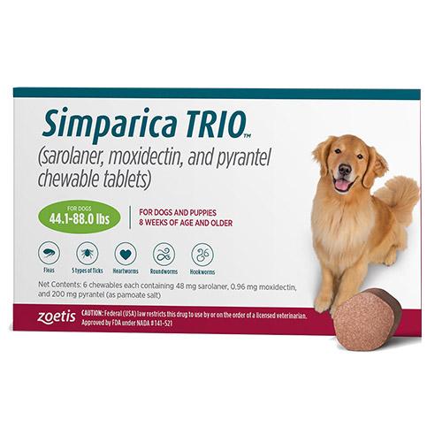 Simparica TRIO for Dogs 44.1-88 lbs (Green)