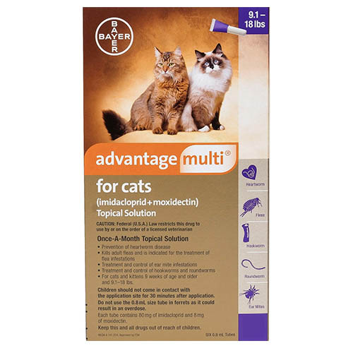 Advantage Multi (Advocate) for Cats, Purple, Over 4.5 Kg (Over 10lbs)