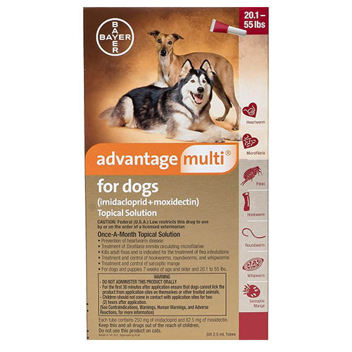 Advantage Multi (Advocate) for Large Dogs, Red, 10.1 - 25 Kg (20-50lbs)