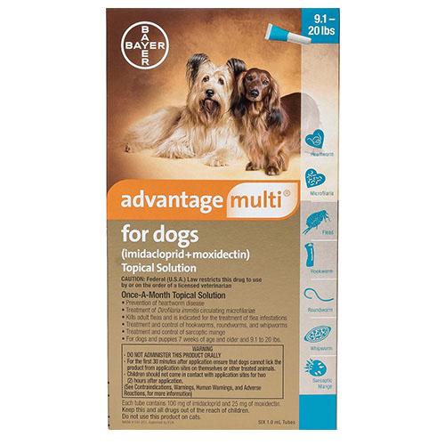 Advantage Multi (Advocate) for Medium Dogs, Aqua, 4.1 - 10 Kg (9-20lbs)