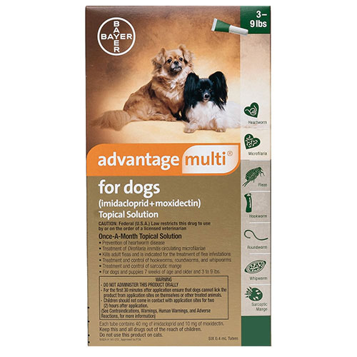 Advantage Multi (Advocate) for Small Dogs, Green, Up To 4 Kg (Up To 9lbs)