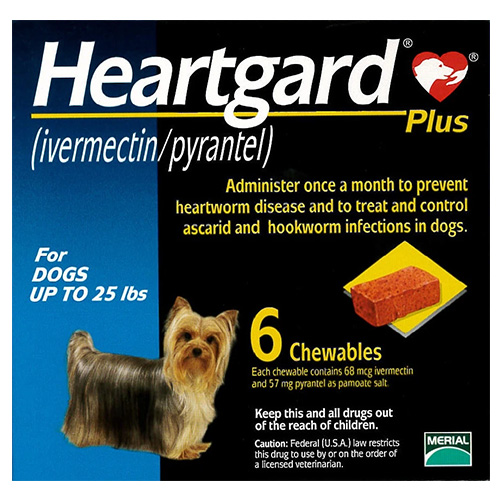 Heartgard Plus Chewables for Small Dogs, Blue, Up To 11 Kg (Up To 25lbs)