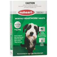 Heartgard Plus Generic Nuheart for Medium Dogs, Green, 12 - 22 Kg (26-50lbs)