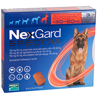 Nexgard Spectra Tab for Extra Large Dogs, Red, 30.1 - 60 Kg (66-132lbs)