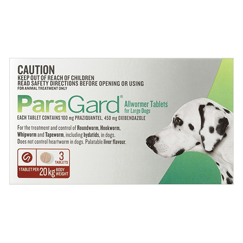Paragard Allwormer For Large Dogs, Red, 20 Kg (44lbs)