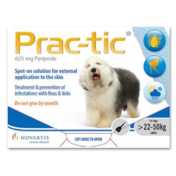 Prac-tic Spot On for Large Dogs, White, 22 - 50 Kg (50-110lbs)