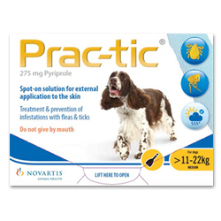 Prac-tic Spot On for Medium Dogs, Yellow, 11 - 22 Kg (25-50lbs)