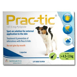 Prac-tic Spot On for Small Dogs, Green, 4.5 - 11 Kg (10-25lbs)