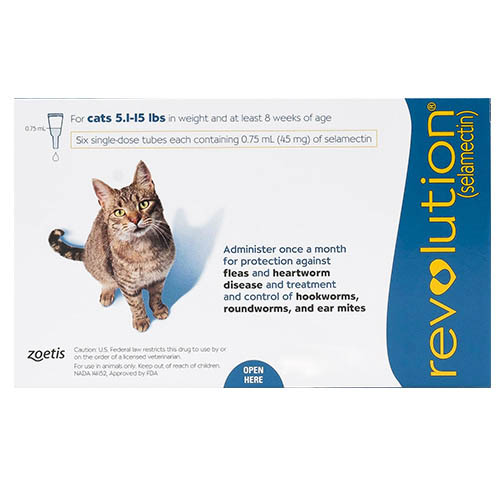 Revolution for Cats, Blue, 2.6 - 7.5 Kg (5.1-15lbs)