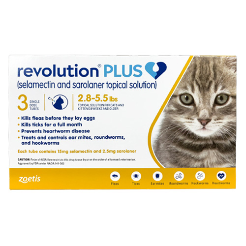 Revolution Plus for Kittens and Small Cats, Yellow, 1.25 - 2.5 Kg (2.8-5.5lbs)