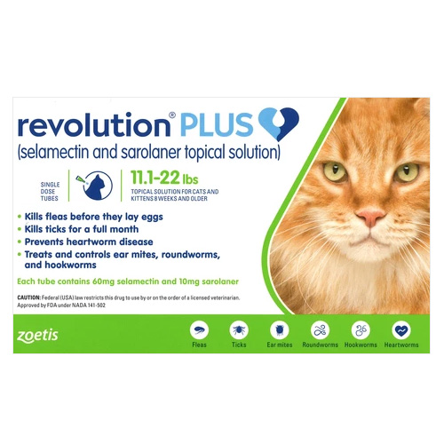 Revolution Plus for Large Cats, Green, 5 - 10 Kg (11-24lbs)