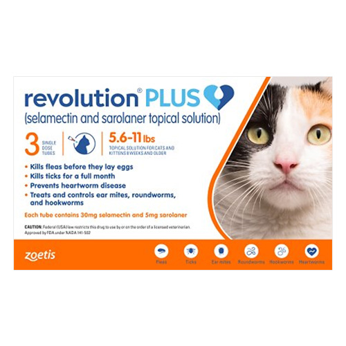 Revolution Plus for Medium Cats, Orange, 2.5 - 5 Kg (5.5-11lbs)