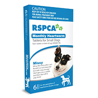 RSPCA Monthly Heartworm Tablets for Small Dogs, Blue, Up To 10 Kg (Up To 22lbs)