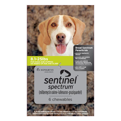 Sentinel Spectrum For Dogs for Dogs 8 - 25 Lbs Green