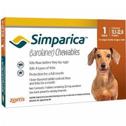 Simparica Chewables for Dogs, Brown, 5 - 10 Kg (11.1-22lbs)