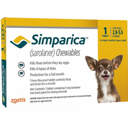 Simparica Chewables for Dogs, Yellow, 1.3 - 2.5 Kg (2.5-5.5lbs)
