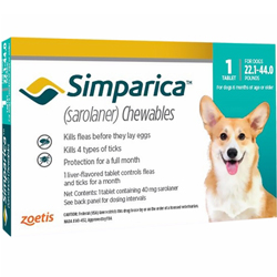 Simparica Chewables for Dogs, Blue, 10 - 20 Kg (22.1-44lbs)