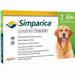 Simparica Chewables for Dogs, Green, 20 - 40 Kg (44.1-88lbs)