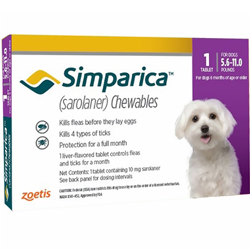 Simparica Chewables for Dogs, Purple, 2.5 - 5 Kg (5.6-11lbs)