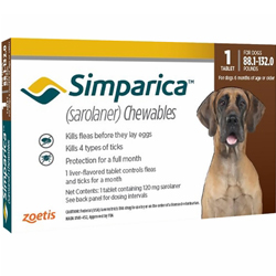 Simparica Chewables for Dogs, Red, Over 40 Kg (Over 88lbs)