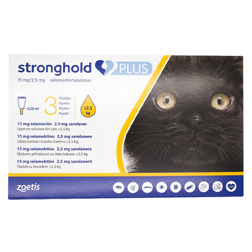 Stronghold Plus for Kittens and Small Cats, Yellow, Up To 2.5 Kg (Up To 5.5lbs)