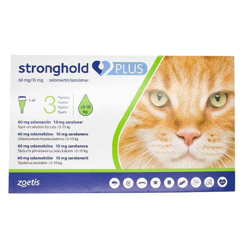Stronghold Plus for Large Cats, Green, 5 - 10 Kg (11-24lbs)